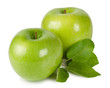 Bright ripe apples with leaves