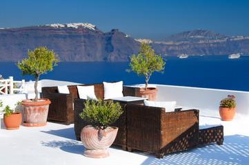 Romantic Santorini view from relaxing place