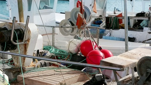 Balearic islands formentera port with trammel fisher nets buoys