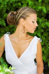Profile of girl in Greek style