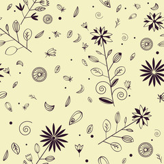 Seamless hand drawn floral pattern with violet ink elements