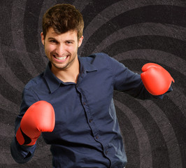 Portrait Of A Man In Red Boxing Glove