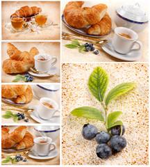 Serie di caffè con rametto di mirtillo