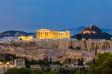 View on Acropolis at night