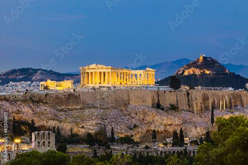 Fotobehang Athene View on Acropolis at night