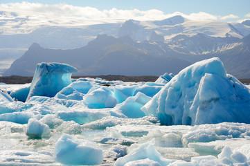 Jokulsarlon iceberg lagoon with mountain view, Southeast of Icel
