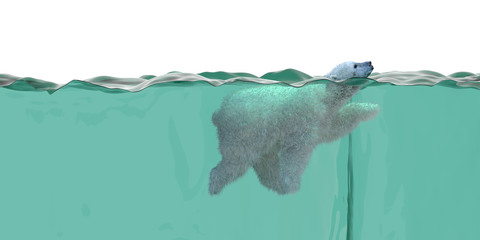 polar bear swimming 3d illustration