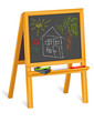 Child's Chalk Drawings, blackboard easel, house, landscape