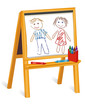 Child's Crayon Drawings, wood easel, paper, boy, girl,