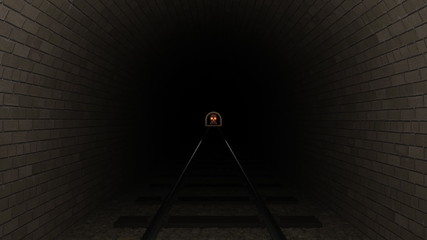 Skull train moves down a tunnel.