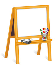 Child's Whiteboard Wood Easel, markers, eraser, copy space