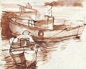 boats - brown ink technique