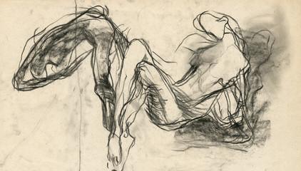 figure, expression pose - black charcoal technique