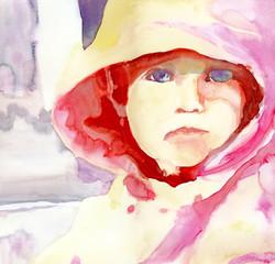little girl face - water colors technique