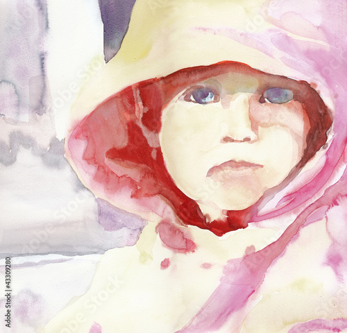 little girl face - water colors technique