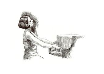 hard tip marker, hand drawing - musician
