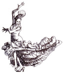 Classical dancer dances. Hand drawing