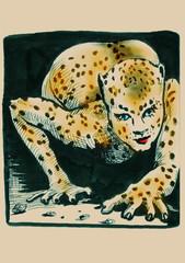 hand drawing illustration : leopard lady - original painting