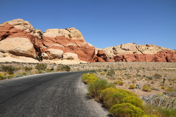 Road through Red rock canyon, Nevada