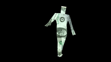 Man cut out from a dollar bill staggering.