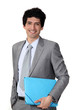 Young businessman blue folder