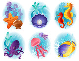 Sea animals icons