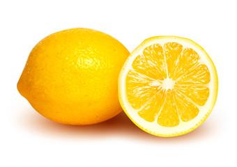 Slice of fresh lemon. Vector