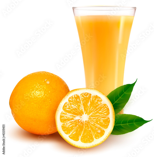 Fresh orange and glass with juice. Vector