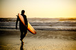 canvas print picture - Surfer walking
