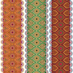 Indian Art Henna Inspired Colorful Borders