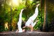 Yoga couple in the garden