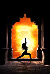 Yoga woman in temple