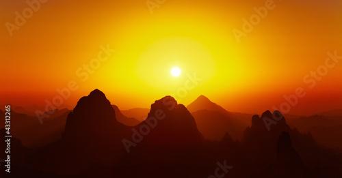 Tuinposter Algerije Sunrise over Sahara Desert, Hoggar mountains, Algeria