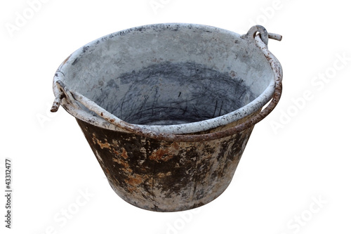 Dirty pail isolated on white