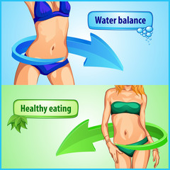 slimming woman body balance water and life healthy eating