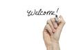 Hand writing welcome