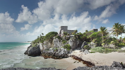 time-lapse of the mayan ruins at tulum, mexico