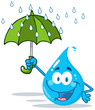Smiling Water Drop With Umbrella Under The Rain