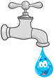 Water Faucet With Smiling Water Drop Cartoon Character