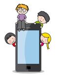 Fototapety Niños con un teléfono mávil