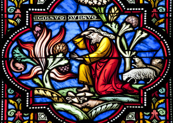 Brussels - Moses and the buring bush - st. Michel cathedral