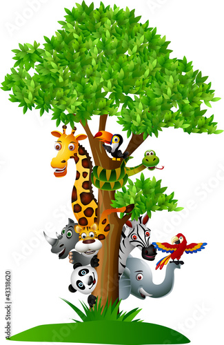 various funny cartoon safari animals to hide behind a tree