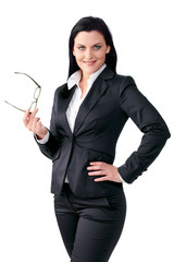Confident business woman with a pair of glasses