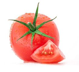 Tomato and slices isolated on white background, with water drops