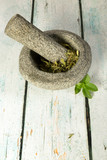Stevia mortar and pestle