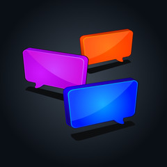 colorful speech square chat icon isolated on black background