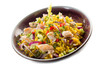 rice salad with chicken celery onions and chili pepper