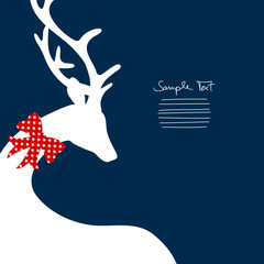 Reindeer Cropped With Red Bow Stars Dark Blue