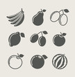 set of fruit food icon icon vector illustration