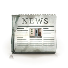 Newspaper, old-style isolated